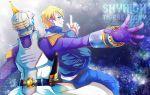 back-to-back blonde_hair blue_eyes dual_persona epaulettes glowing glowing_eyes helmet keith_goodman ksymzk male multiple_boys pointing power_suit short_hair sky_high superhero tiger_&_bunny