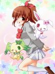 ;d bow brown_hair cardigan chisato_(missing_park) hair_ribbon jewel_pet jewel_pet_sunshine jewelpet_(series) jewelpet_sunshine kneehighs leg_up loafers open_mouth peridot_(jewelpet) ponytail ribbon ruby_(jewelpet) school_uniform shoes skirt smile white_legwear wink