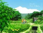 2girls age_difference bicycle child father_and_daughter flower ghibli karakasa_harubaru kusakabe_mei kusakabe_satsuki kusakabe_tatsuo multiple_girls nature path plant scenery studio_ghibli tonari_no_totoro totoro water_drop