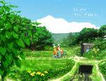 2girls age_difference bicycle child father_and_daughter flower ghibli karakasa_harubaru kusakabe_mei kusakabe_satsuki kusakabe_tatsuo multiple_girls nature path plant scenery studio_ghibli tonari_no_totoro totoro water_drop