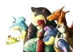 1boy blastoise brown_hair charizard lapras pikachu pokemon pokemon_(creature) red_(pokemon) snorlax venusaur wooperlooper