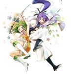 fan flower goggles green_eyes green_hair gumi hakka_(hakkakka) hirococo_(hakka) jumping kamui_gakupo long_hair purple_hair shoes skirt smile spiked_hair spiky_hair sword vocaloid weapon wrist_cuffs