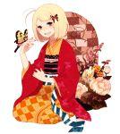 ao_no_exorcist blonde_hair butterfly flower green_eyes hair_ornament japanese_clothes kimono moriyama_shiemi nail_polish ono_(0_no) open_mouth seiza short_hair simple_background sitting smile solo