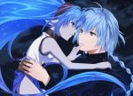 blue_eyes blue_hair blue_skin braid celsius couple hairband hand_on_chin long_hair pointy_ears puu_(aiko) sparkle tales_of_(series) tales_of_eternia tales_of_rebirth veigue_lungberg