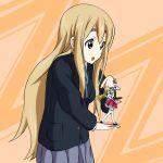 blazer blonde_hair blue_eyes character_doll figure hell-yeah highres k-on! kotobuki_tsumugi long_hair meta pleated_skirt school_uniform skirt smile solo waitress