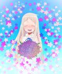 closed_eyes dress eyes_closed flower honma_meiko kashiri_kurosuke long_hair tears violet violet_(flower)