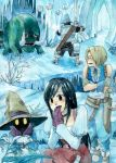armor black_hair black_mage blonde_hair cave cold deboo final_fantasy final_fantasy_ix final_fantasy_xi garnet_til_alexandros_xvii ice_cave long_hair plant red_eyes sharp_teeth short_hair traditional_media trembling tusks vivi_ornitier watercolor_(medium) yellow_eyes zidane_tribal