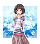 arms_behind_back bob_cut brown_eyes brown_hair kaoru348 shirt short_hair skirt smile striped striped_shirt tachibana_miya
