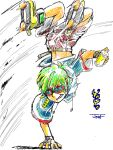 gloves green_hair inline_skates jet_set_radio jet_set_radio_future manaita roller_skates short_hair shorts skates solo spray_paint tegaki yoyo_(jsr)