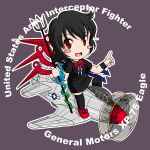 airplane asymmetrical_wings black_hair black_legwear blush_stickers chibi chimera commentary_request dress houjuu_nue military no_nose open_mouth p-75_eagle pointing polearm red_eyes ribbon sakurato_tsuguhi short_hair snake solo spear thigh-highs thighhighs touhou trident weapon wings world_war_ii wristband wwii