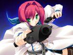 bloody_rondo game_cg green_eyes gun nikaidou_rinko red_hair redhead sakaki_maki short_hair weapon