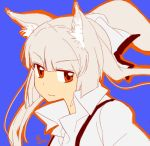 animal_ears bad_id face fujiwara_no_mokou hime_cut kemonomimi_mode ponytail signature simple_background solo spot_color tora_jun touhou