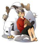 arctic_fox axis_powers_hetalia barefoot beaver beluga_whale bird blonde_hair blue_eyes canada_(hetalia) canadian_flag feet fox glasses goose lynx lynx_(animal) male moose polar_bear seal sherry_lai signature squirrel
