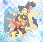 blue_hair boots brown_eyes brown_hair cape character_request dragonite formal garchomp hachita hair_ornament holding holding_poke_ball long_hair metagross poke_ball pokemon pokemon_(game) pokemon_dppt pokemon_rgby pokemon_rse pokemon_special shirona_(pokemon) short_hair suit tsuwabuki_daigo wataru_(pokemon)