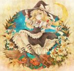 argyle argyle_background blonde_hair blush book bow braid broom crescent_moon dress floral_background flower frills gloves hair_bow hand_on_hat hat hat_bow kirisame_marisa lily_(flower) long_hair michii_yuuki moon night night_sky plant red_rose ribbon rose single_braid sky socks solo star striped striped_legwear striped_socks touhou vines witch witch_hat wrist_cuffs yellow_eyes