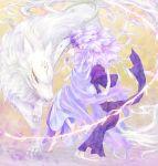 animal barefoot blonde_hair frills gathers highres kurosato madara_(natsume) madara_(natsume_yuujinchou) male mask natsume_takashi natsume_yuujinchou ruffles short_hair solo