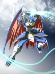 armor bracelet claws clenched_hand clouds digimon digimon_adventure_v-tamer digimon_adventure_v-tamer_01 digimon_savers dragon_wings energy fist gauntlets highres horns jewelry lightning red_eyes sky solo takayuuki ulforceveedramon wings