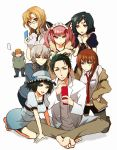 animal_ears black_hair braid brown_hair cap cat_ears cellphone dress facial_hair faris_nyannyan glasses hair_ornament hairclip hashida_itaru hat jacket kiryuu_moeka kneeling labcoat maid_headdress makise_kurisu monakanoki okabe_rintarou pantyhose phone pink_hair shiina_mayuri sitting steins;gate stubble trap twin_braids urushibara_luka urushibara_ruka