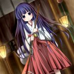 bangs blunt_bangs blush dutch_angle furude_rika higurashi_no_naku_koro_ni hoe japanese_clothes kazura long_hair miko open_mouth purple_eyes purple_hair shrine_maiden solo standing violet_eyes worktool