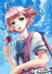 ahoge bag blue_eyes bob_cut cloud clouds face food fruit highres holding holding_fruit holding_strawberry open_mouth original pink_hair realmbw school_uniform serafuku short_hair sky solo strawberry