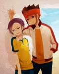 adult anger_vein bad_id brown_eyes brown_hair crack endou_mamoru headband highres inazuma_eleven inazuma_eleven_(series) inazuma_eleven_go jacket lightning_bolt male minamisawa_atsushi multicolored_eyes multiple_boys ono_(0_no) purple_hair raimon short_hair smile soccer_uniform sweatdrop yellow_eyes