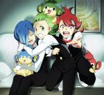 blue_hair brothers closed_eyes corn_(pokemon) dent_(pokemon) eyes_closed green_eyes green_hair gym_leader hair_over_one_eye hirococo hirococo_(hakka) male multiple_boys panpour pansage pansear pod_(pokemon) pokemon pokemon_(game) pokemon_black_and_white pokemon_bw red_eyes red_hair redhead short_hair siblings tears triplets you_gonna_get_raped