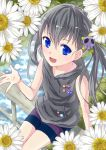 bike_shorts black_eyes blue_eyes casual daisy flower hair_ornament hoodie open_mouth original pins rail railing sitting skull sleeveless smile solo spats twintails