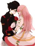 1girl anemone back black_hair couple dominic_sorel dress eureka_7 eureka_seven eureka_seven_(series) flower gloves long_hair military military_uniform pink_hair simple_background tears tsu_da uniform