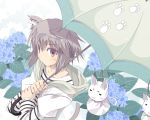 cat_ears cat_tail flower from_above grey_eyes grey_hair hoodie hydrangea original paw_print satomi shirt short_hair solo striped striped_shirt tail teruterubouzu umbrella