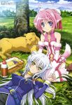 absurdres ahoge animal_ears bangs bare_shoulders basket belt blush boots bow braid breasts bun_cover cleavage_cutout cloud detached_sleeves dog_days dog_ears dog_tail double_bun flat_chest food frills fruit gloves grapes grass hair_bow hair_intakes hand_on_head highres holding_hands ishiyama_hiroshi jewelry kneeling lap_pillow large_breasts leaf lemon leonmitchelli_galette_des_rois lion long_hair looking_at_viewer lying megami millhiore_f_biscotti mountain multiple_girls nature necklace official_art on_back on_ground on_stomach orange outdoors payot picnic_basket pink_hair purple_eyes ribbon ruffles sandwich scan short_hair side_braid silver_hair sitting skirt sky smile tail thermos tree turtleneck very_long_hair violet_eyes white_gloves white_hair yellow_eyes yuri