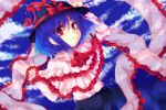 1girl arms_up blue_hair cloud hat highres nagae_iku purple_hair red_eyes ribbon shawl short_hair skirt sky solo touhou uranaishi_(miraura)