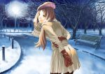 beret brown_hair gloves hat hata_yui highres lamppost park scarf skirt snow solo