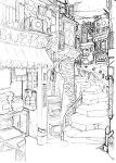 bouno_satoshi highres monochrome old_kana_usage original rail railing sign sketch stairs town work_in_progress