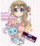 bad_id blonde_hair blue_eyes casual cup happy_birthday highres instrument k-on! kotobuki_tsumugi long_hair saucer side_ponytail solo stuffed_animal stuffed_toy sunameri_oishii synthesizer teacup teddy_bear