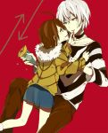 1girl accelerator ahoge bad_id brown_eyes brown_hair couple crepe food food_on_face hooded_jacket last_order loo red_eyes shirt short_hair skirt striped striped_shirt to_aru_majutsu_no_index white_hair