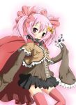 :o blush cape charlotte_(madoka_magica) grief_seed hair_ornament hair_ribbon hairclip mahou_shoujo_madoka_magica panties personification pink_eyes pink_hair pink_legwear pleated_skirt polka_dot polka_dot_panties ribbon sakuraebi_chima short_hair short_twintails skirt sleeves_past_wrists solo thigh-highs thighhighs twintails underwear