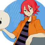 ball green_eyes inazuma_eleven inazuma_eleven_(series) kiyama_hiroto l_hakase red_hair redhead shirt short_hair smile striped striped_shirt