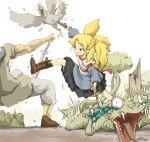bird blonde_hair blue-eyes blue_eyes boots copyright_request fangs firing gun kicking ohyo open_mouth skirt stabbing sword tears weapon