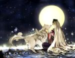 bad_id closed_eyes eyes_closed long_hair mask moon okami ookami_(game) orime_(kau) silver_hair sitting smile star_(sky) tattoo ushiwakamaru very_long_hair water