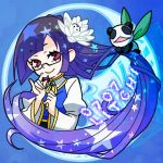 character_name glasses lao_jiu litchi_faye_ling long_hair lowres official_art purple_eyes purple_hair violet_eyes
