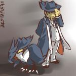 bird coat cosplay hat hat_tug hitec honchkrow human male moemon pants personification pokemon pokemon_(game) pokemon_dppt pokã©mon scarf shirt smile translation_request