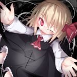 ascot blonde_hair blush fang hair_ribbon open_mouth razy_(skuroko) red_eyes ribbon rumia short_hair smile solo the_embodiment_of_scarlet_devil touhou wink youkai