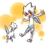 arms_outstretched cosplay fake_wings faux_wings hair hitec human looking_at_viewer male moemon open_mouth outstretched_arms personification pokemon pokemon_(creature) pokemon_(game) pokemon_gsc shirt shoes short_hair shorts spiked_hair spiky_hair togetic white_hair wings
