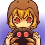 1girl blonde_hair claws cosplay hair helmet hitec holding human kabuto kabuto_(pokemon) looking_at_viewer moemon personification pokemon pokemon_(creature) pokemon_(game) pokemon_rgby red_eyes short_hair