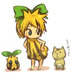 1girl ? bent_over blonde_hair blue_eyes blush_stickers bow cat character_request child cosplay feline female hair hair_bow hair_ribbon hands_on_hips hitec human looking_back moemon personification pokemon pokemon_(creature) pokemon_(game) pokemon_gsc ribbon short_hair sunkern translation_request yellow_hair