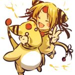 1girl ampharos blonde_hair blush_stickers cheek_press closed_eyes cosplay dress electricity eyes_closed female hair hitec human moemon o_o open_mouth personification pokemon pokemon_(creature) pokemon_(game) pokemon_gsc short_hair tail tail_bow thigh-highs thighhighs v yellow_hair