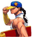 braid bridal_gauntlets capcom chinese_clothes hat ikeno_daigo muscle official_art portrait single_braid skateboard street_fighter street_fighter_iii street_fighter_iii:_3rd_strike yun_lee
