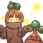 1girl _- blush_stickers bonsly brown_hair closed_eyes cosplay eyes_closed hair hair_bobbles hair_ornament hitec human mittens moemon open_mouth personification pokemon pokemon_(creature) pokemon_(game) pokemon_dppt scarf short_hair shrug sweater yellow_eyes