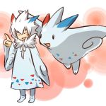 closed_eyes cosplay dress hair hitec human index_finger_raised long_hair male moemon open_mouth personification pokemon pokemon_(creature) pokemon_(game) pokemon_dppt raised_finger robe smile spiked_hair spiky_hair togekiss white_hair