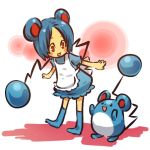 1girl apron blue_hair blush_stickers cosplay female footwear hair hitec human marill moemon mouse_ears open_mouth personification pokemon pokemon_(creature) pokemon_(game) pokemon_gsc red_eyes short_hair smile socks tail